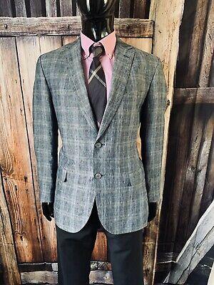 """Ermenegildo """"Z"""" Zegna Off Blue Plaid Linen Suit Coat Blazer Size 40R Mint!"""