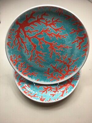 Cynthia Rowley Set Of 4 Dinner plates Coral- Coastal- Melamine (Coral Plates)