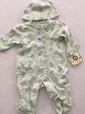 Little Me Baby Girls Coverall Hat Outfit Size 3 6 9 Months Green Purple Floral