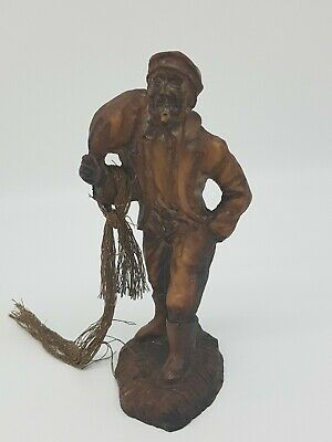 Vintage Hand Carved Seafaring Fisherman Wood Effect Resin Figurine Statue