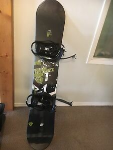Snowboard, case, boots and snow board lock