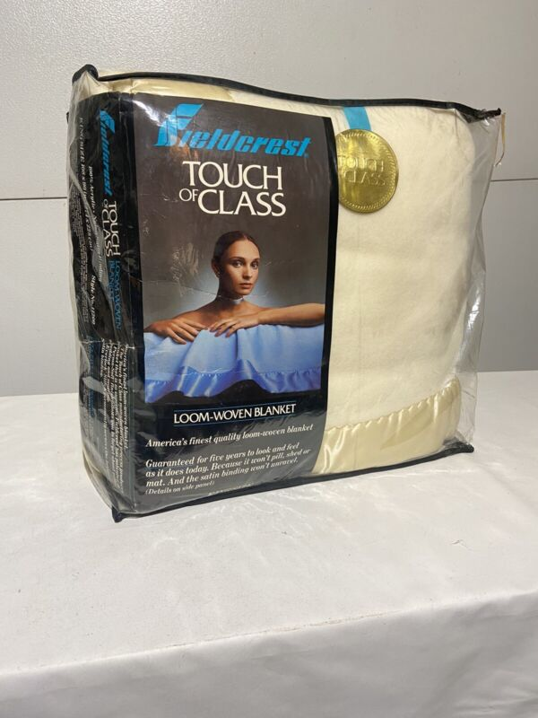 Vintage Fieldcrest Touch of Class Blanket King Size Cream Ivory New