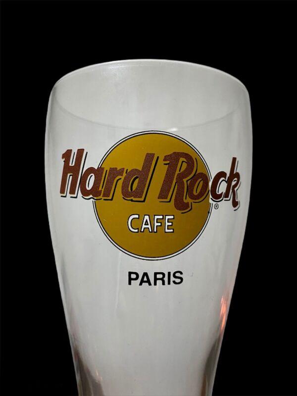 """Rare!  Hard Rock Cafe """"PARIS""""  Pilsner Beer Glass Collector's 20oz - 8.5"""" Tall"""