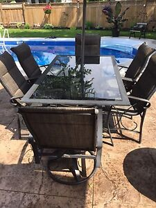 Outdoor dinner table set