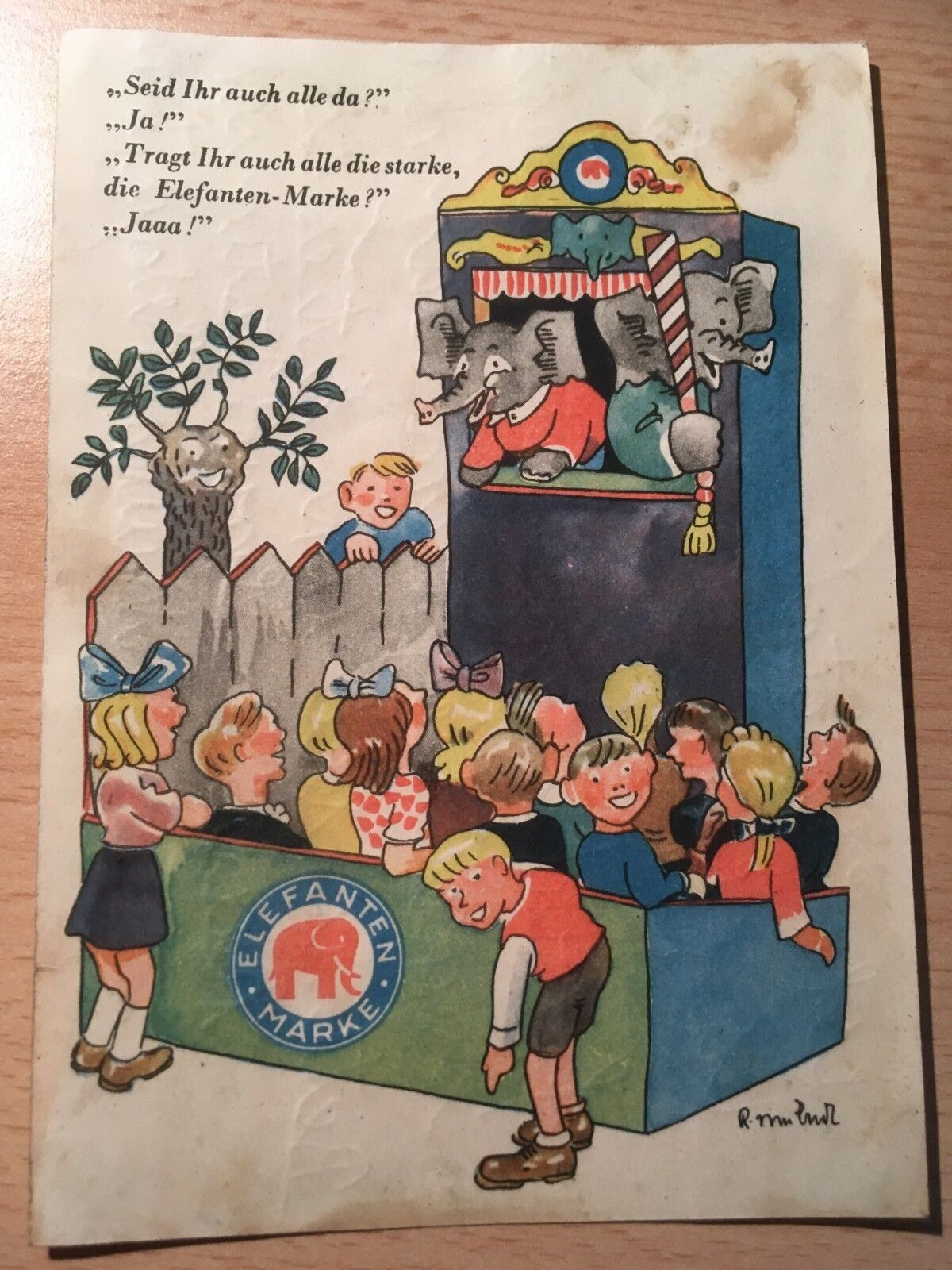 Elefanten Marke Schuhe Alte Werbe Ansichtskarte, Reklame, vor 1959