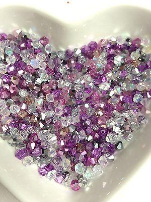 100 Austrian Crystal 4mm Bicone Beads Pink, Lilac Silver Metallic  &White AB Mix