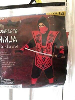 Boy's Complete Ninja Red Costume Lg (10-12) 7 pieces FAST NEXT DAY SHIPPING](Next Day Shipping Costumes)