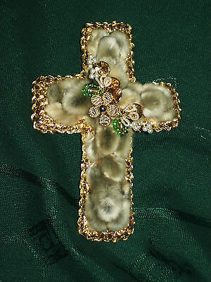 Palmkreuz, Kreuz, Palmkätzchen. Osteranhänger, Klosterarbeit, Osterdeko, grün