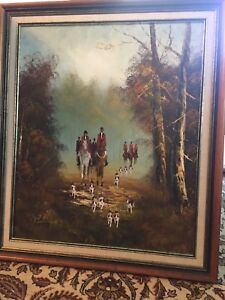 Antique signed hunting theme oil painting