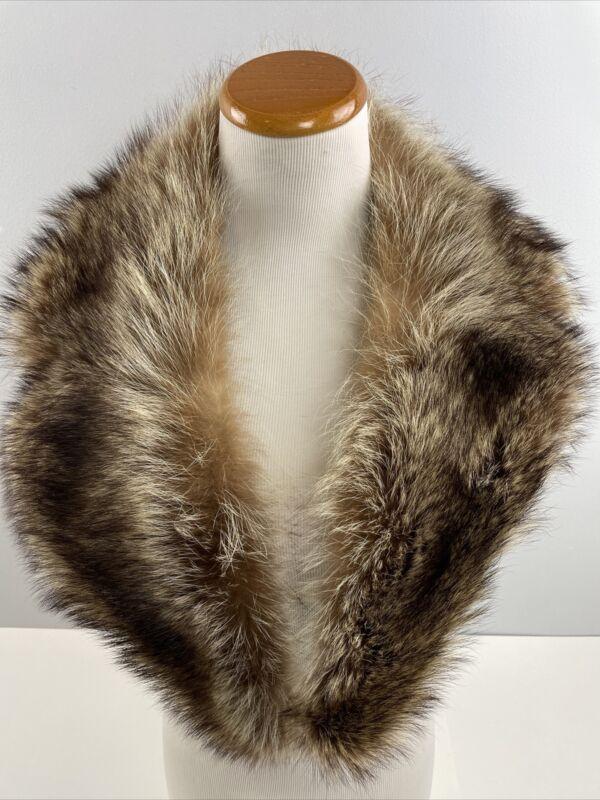 "Vtg Fur Collar 37"" Long Brown Stole"