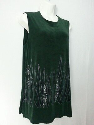 - Picadilly Fashions Top Dark Green Embellished Jewels Abstract Design Sleevless L