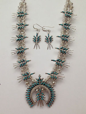 Sterling Silver Zuni Needlepoint Turquoise Stone Squash Blossom Necklace Set