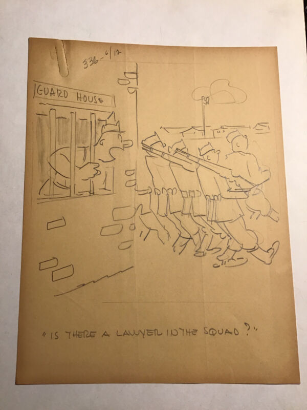 """WWII Ralph Hershberger Original Comic Art Soldier Locked Up """"Funny Business"""""""