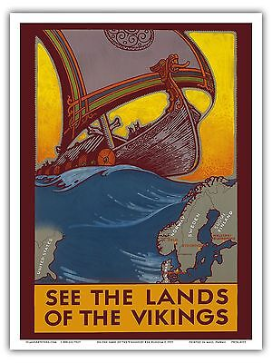Ship Map - Viking Ship Scandinavia Map Vintage World Travel Art Poster Print