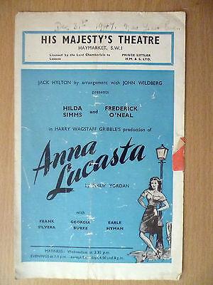 1947 His Majesty's Theatre Programme: Jack Hylton- ANNA LUCASTA (Philip Yordan)