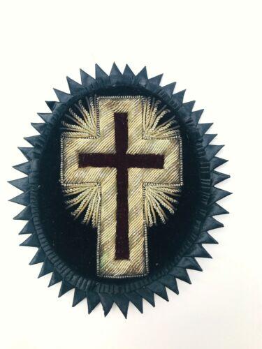 Antique Knights Templar Black Velvet Silver Bullion Cross Patch Freemason