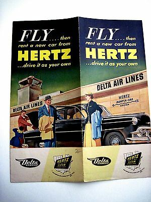 Vintage Delta Airline Colored Brochure Advertising  Hertz Rental Car