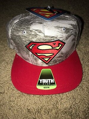 Youth Adjustable Hat - NEW YOUTH SUPERMAN LOGO HAT CAP SNAPBACK OSFM ADJUSTABLE NWT ONE SIZE RED