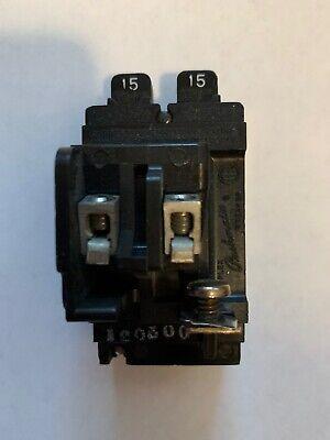 Pushmatic Bull Dog 15 Amp P1515 Tandem Twin Two 1 Pole Circuit Breaker Tested