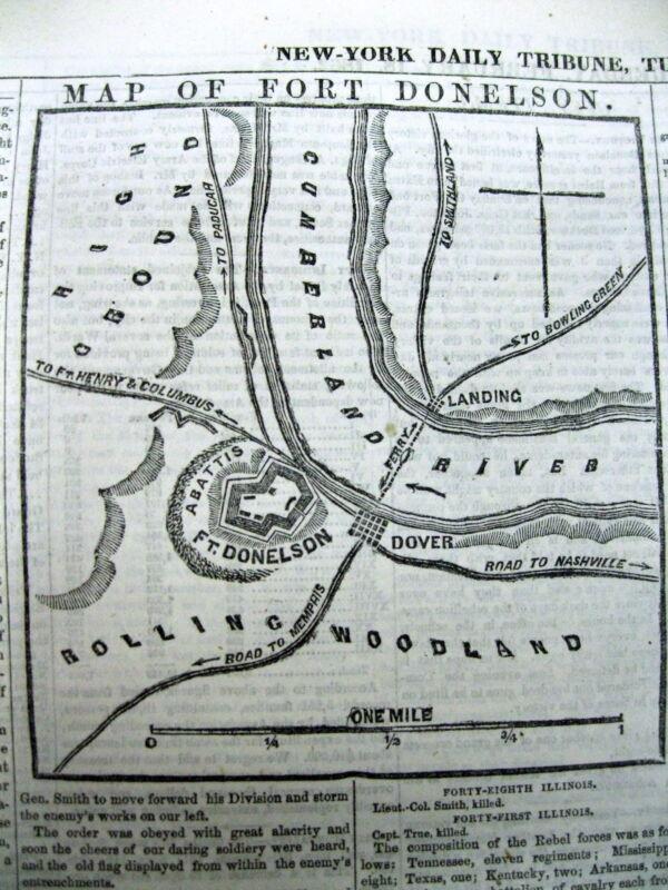 1862 CIVIL WAR newspaper ULYSSES S GRANT CAPTURES FORT DONELSON Tennessee MAP