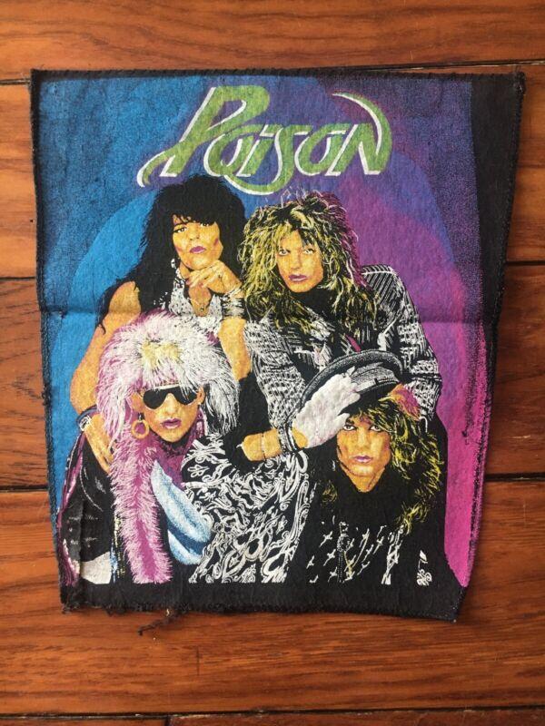Vintage 80's Poison Large Back Patch Denim Jacket Glam Hair Metal Band Shot RATT
