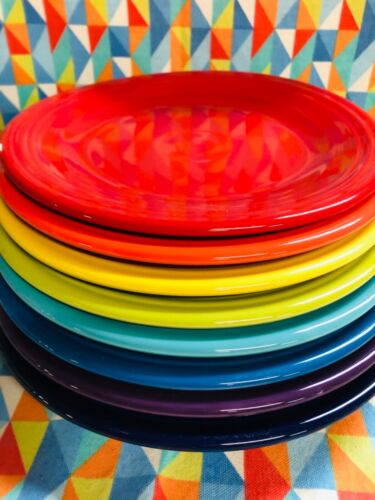 """NEW FIESTA 8 DINNER PLATES BRIGHT MIX COLOR SET 10.5""""  FIESTAWARE FREE SHIPPING"""