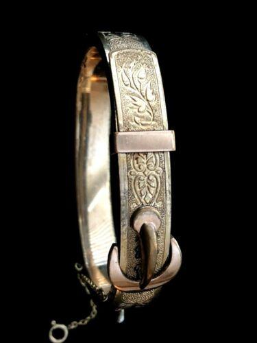 Antique Victorian 12k Gold Filled Etched Floral Belt Buckle Bangle Bracelet