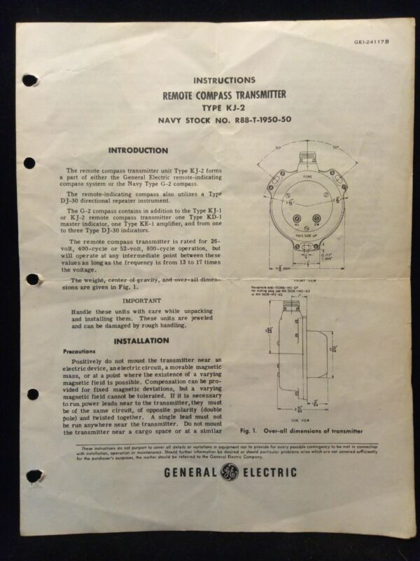 Remote Compass Transmitter Type KJ-2 Navy G-2 GE General Electric Instructions