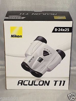 Nikon ACULON T11 8-24x25 ACT11WH White Binoculars 8-24 x 25 japan with Tracking