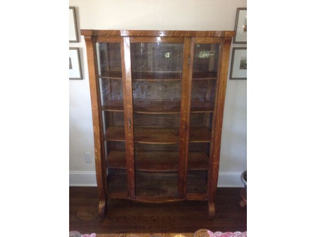 Antique Victorian Empire Oak China Cabinet Bow/Curved Glass Front 62H x42W x16D