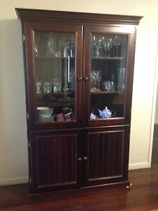 Wooden display cabinet with glass doors. Gaythorne Brisbane North West Preview