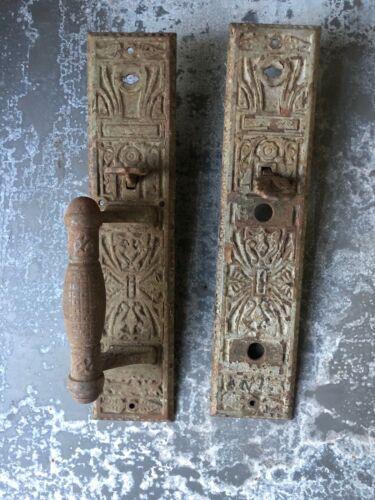 Vintage Ornate Victorian cast iron thumb latch handle & backplate store entry