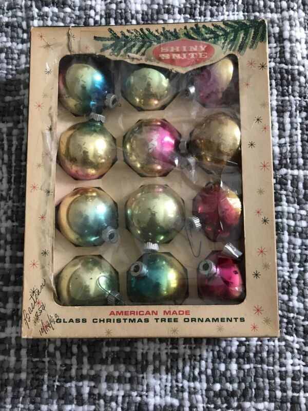 Shiny Brite 12 Solid Color Christmas Ornaments in Box
