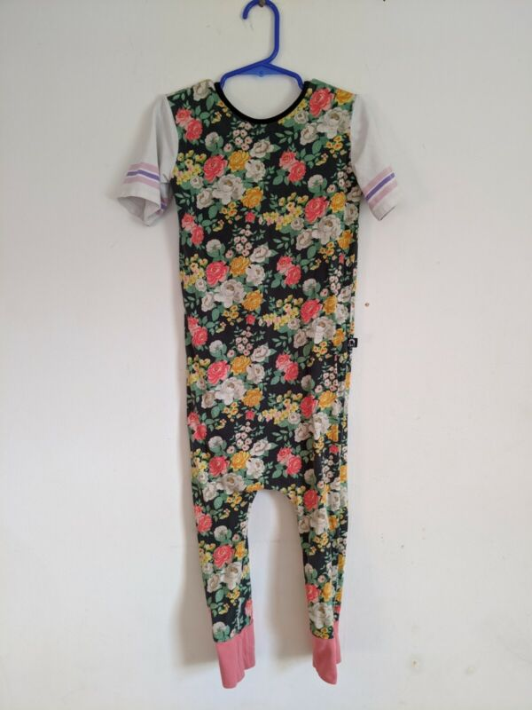 Rags To Reached Girls One Piece Black Floral Romper Jumpsuit 5/6