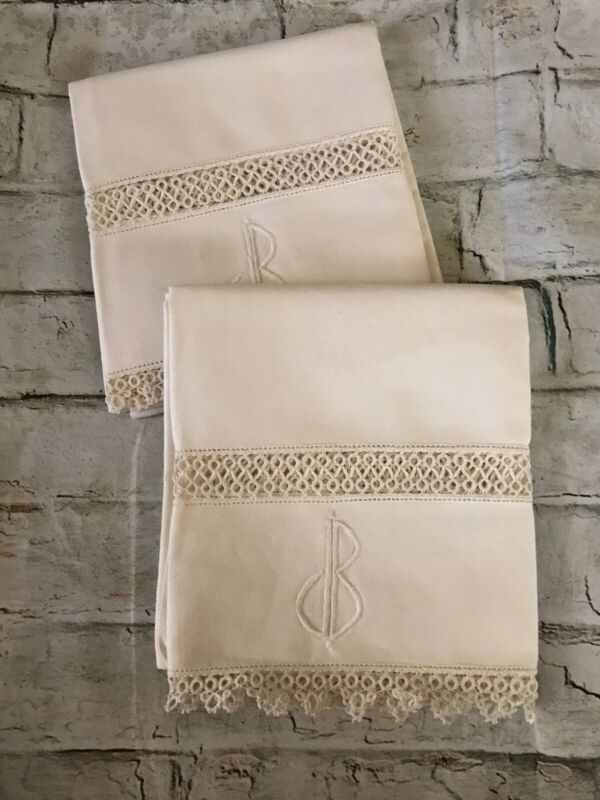 "Antique Cream Hemp Linen w Lace & Monogram DB Pair SEAMLESS Pillowcases 34""x 22"""