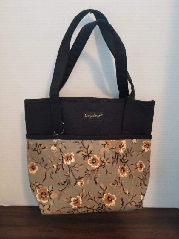Longaberger Khaki Floral/Black Tote Bag