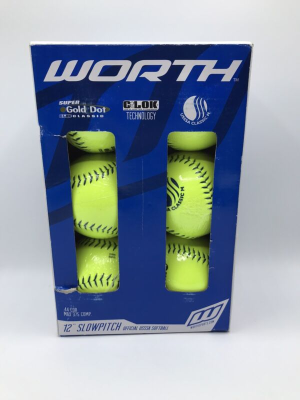 "Worth Super Gold Dot USSSA 12"" Slowpitch .44 COR MAX 375 COMP Softball (6)"