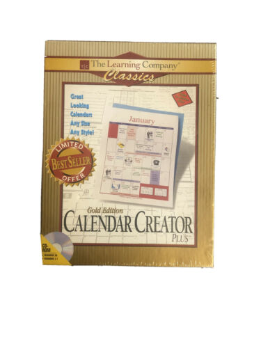 Calendar Creator Plus Gold Edition. The Learning Company Classics New In Package - $5.00