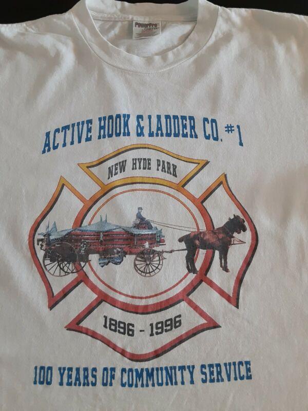 1996 ACTIVE HOOK & LADDER CO. #1 NEW HYDE  PARK  T SHIRT