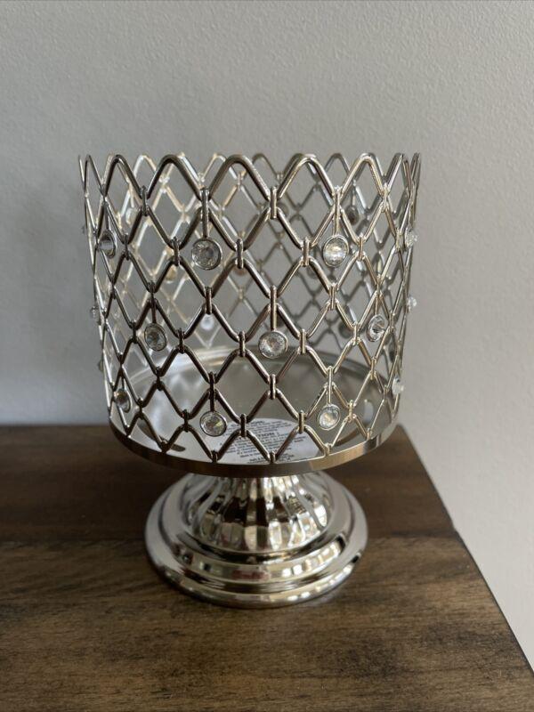 Bath & Body Works Sparkle Silver diamond pedestal 3 Wick Candle HOLDER NEW