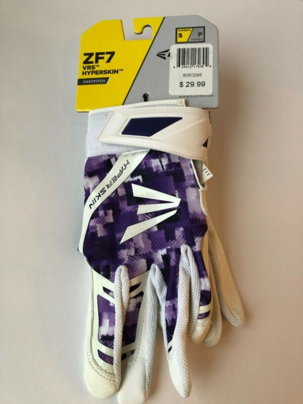 Easton ZF7 VRS Hyperskin Batting Gloves Fastpitch Softball White Purple SMALL