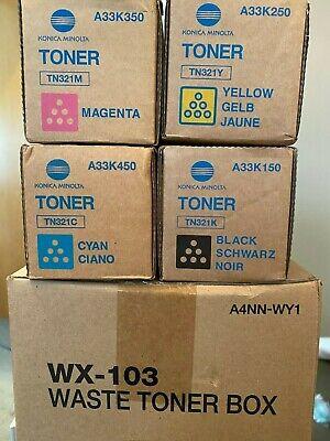 4x Konica Minolta Toner C/M/Y/K TN-321 für  C224 / C284 / C364 + Waste Toner Box