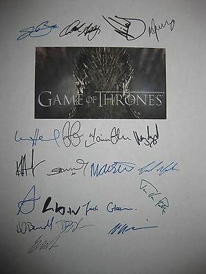 Game of Thrones Signed TV Script x20 Sean Bean Addy Waldau Dinklage Lloyd reprnt