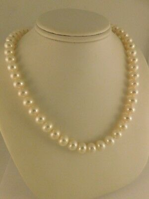 FRESHWATER PEARL 14K YELLOW GOLD NECKLACE MATCHED 8MM PEARLS GIFT BOX