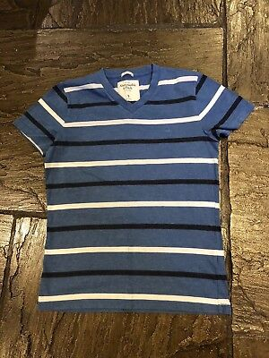 Men's Blue And White Striped Abercrombie & Fitch Muscle T Shirt Size Small