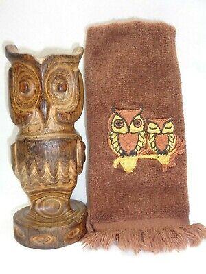 Vtg Carved Wood Owl + Hand Towel Rustic Danish Mod Mcm 1960s 70s Display Decor