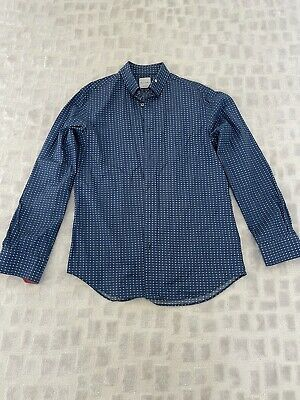 """PS Paul Smith Men's Shirt Blue with White Flowers Collar 15.5"""""""