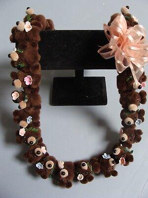 Hawaiian Brown Teddy Bear Pom Pom Lei Graduation Gift maile asst flowers (Maile Lei)