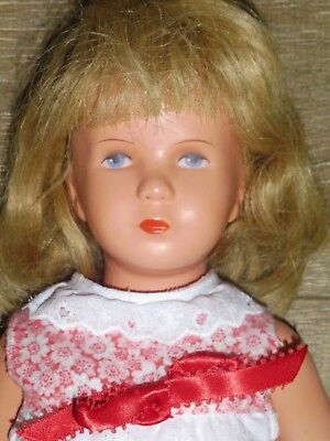 """KATHE KRUSE 1950s/60s 15""""-16"""" Doll-Human Hair Wig & Painted Face-T40-German"""