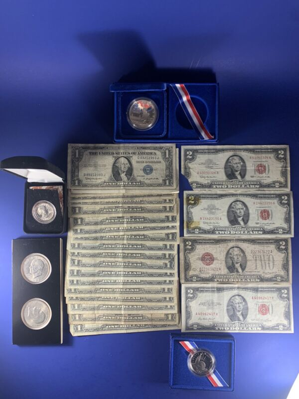 Currency Lot 20 1$ BLUE SEAL 4 2$ RED SEAL and Coin Lot